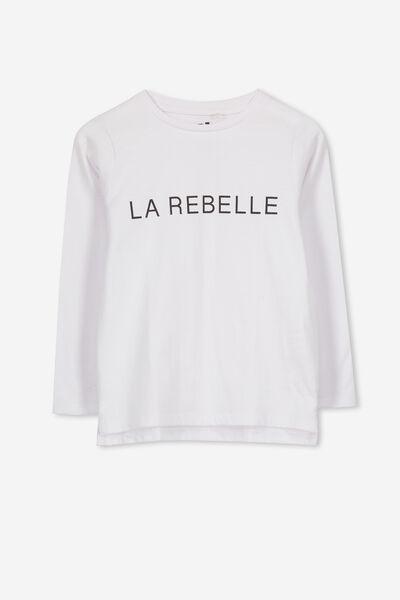 Penelope Long Sleeve Tee, WHITE/LA REBELLE/SET IN