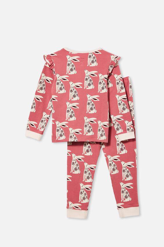 Florence Long Sleeve Pyjama Set, FOLK BUNNY/VERY BERRY