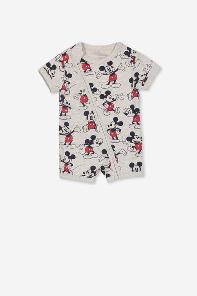 License Ss Zip Through Romper, LCN DIS CLOUD MARLE/MICKEY MOUSE