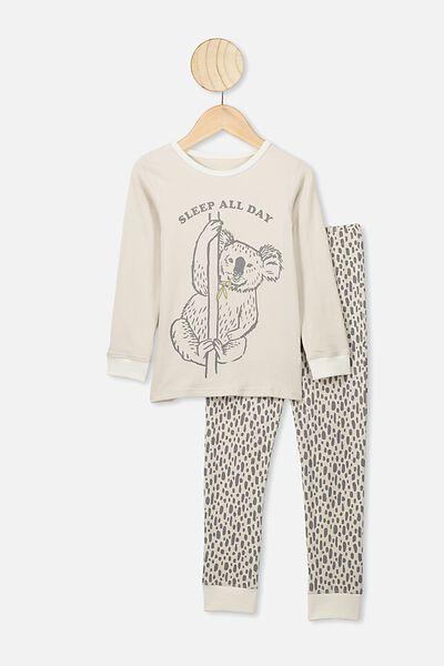 Ethan Long Sleeve Boys Pyjama Set, RAINY DAY/SLEEP ALL DAY