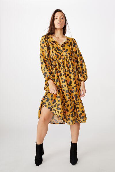 Mama Goldie Long Sleeve Dress, LCN KIP/LEOPARD