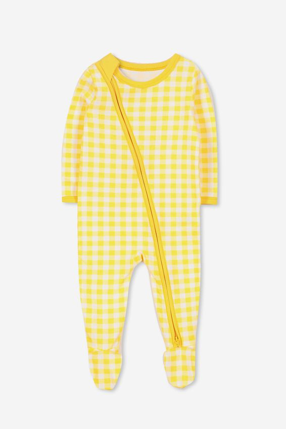 Sleep Mini Zip All In One Jumpsuit, SUNSET GOLD/GINGHAM