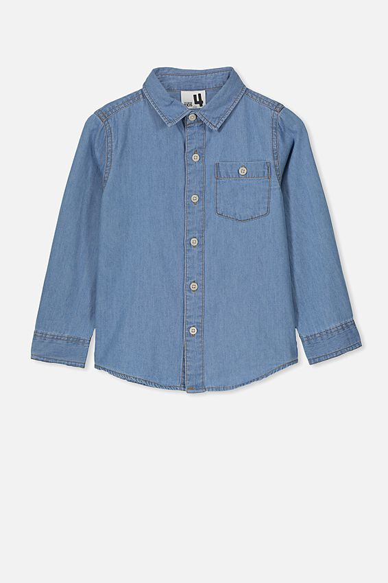 Fairfax Long Sleeve Shirt, MID DENIM WASH