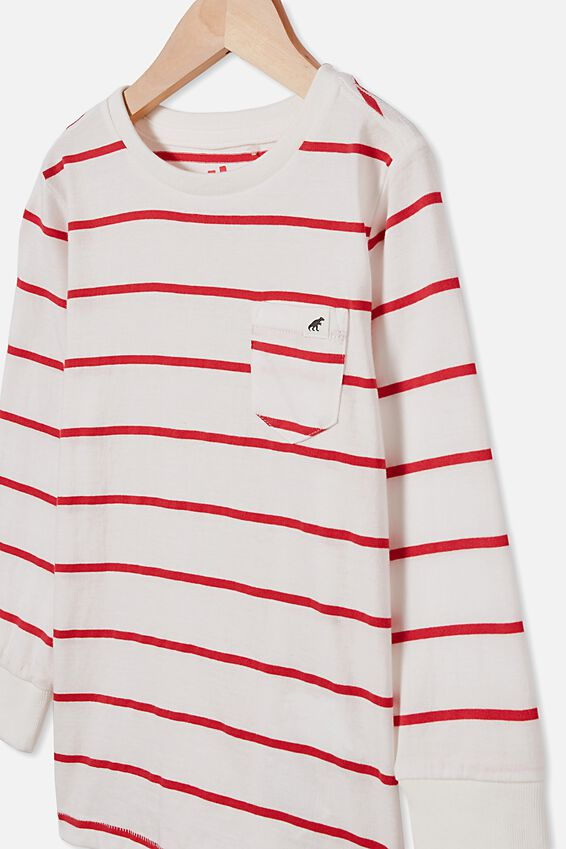 Core Long Sleeve Tee, RED/VANILLA STRIPE