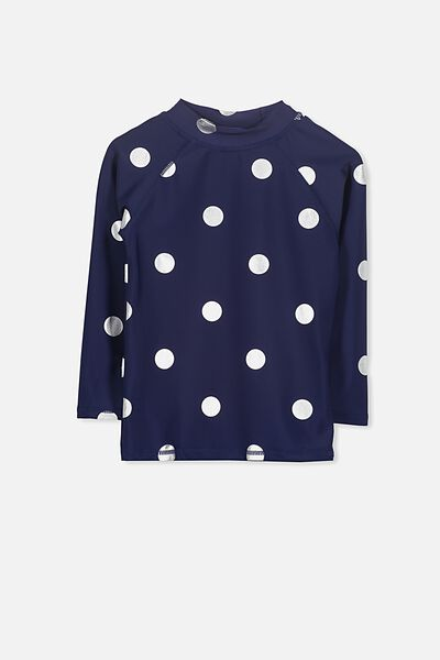 Hamilton Long Sleeve Rash Vest, PEACOAT/SILVER FOIL DOTS