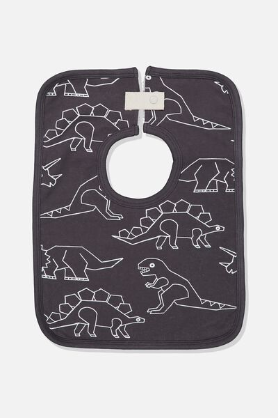 The Everyday Bib, GRAPHITE GREY/DINOSAURS