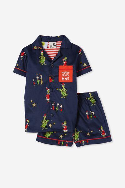 Riley Kids Unisex Short Sleeve Pyjama Set Licensed, LCN DRS GRINCH XMAS TREE INDIAN INK