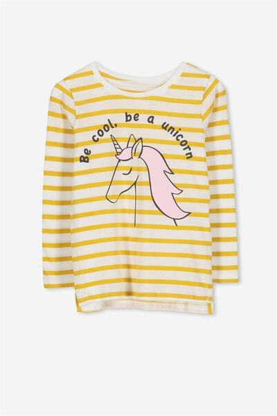 Penelope Long Sleeve Tee, MINERAL YELLOW STRIPE/BE UNICORN/SET IN