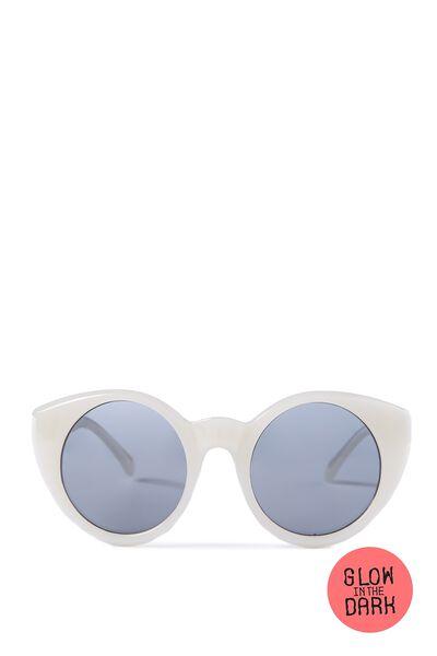 Kids Round Sunglasses, GLOW IN THE DARK WHITE