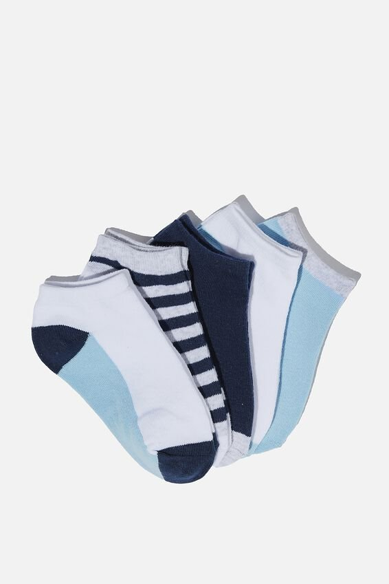 Kids 5Pk Ankle Socks, INDIGO/ GREY MARLE