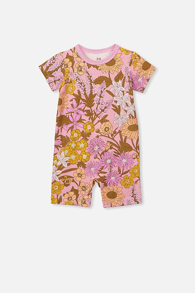 The Short Sleeve Romper, SWEET BLUSH/CORA FLORAL