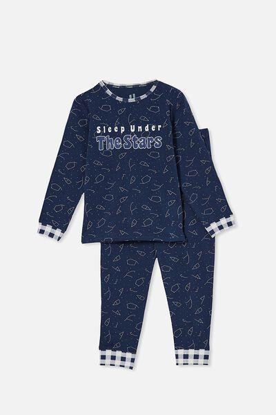 Orlando Long Sleeve Pyjama Set, SLEEP UNDER THE STARS/INDIGO