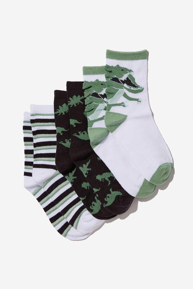 Kids 3Pk Crew Socks, SMASHED AVO/PHANTOM DINO