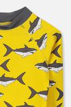 Fraser Long Sleeve Rash Vest, DUNGAREE YELLOW/SHARKS