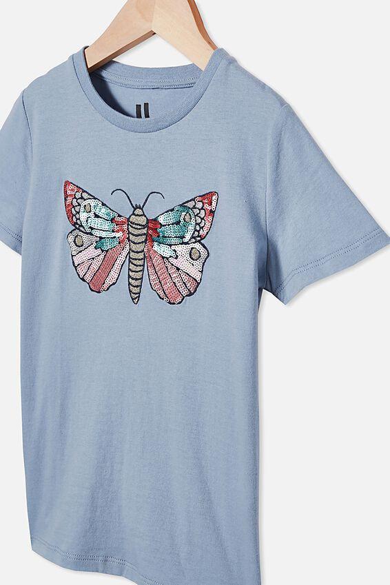 Stevie Short Sleeve Embellished Tee, DUSTY BLUE/ BUTTERFLY