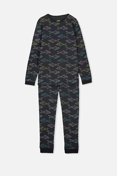 Ethan Long Sleeve Boys Pyjama Set, VINTAGE SHARK/NAVY