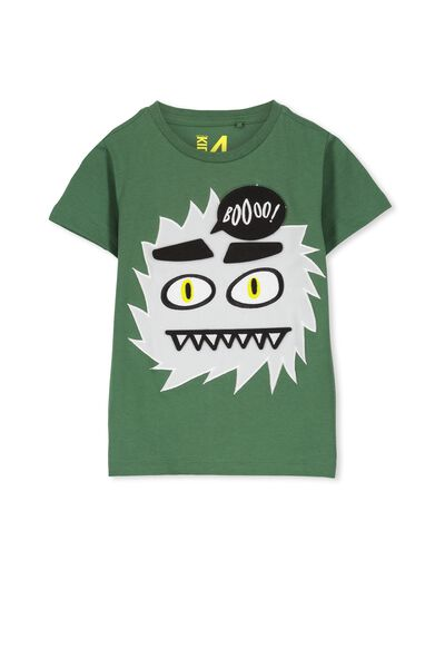 Boys Short Sleeve Halloween Tee, GABBY GREEN/MONSTER BADGES