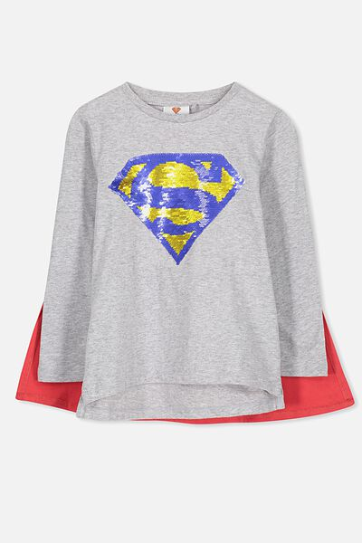 License Long Sleeve Cape Tee, LT GREY MARLE/SUPERMAN SEQUIN