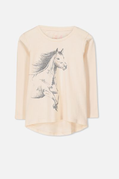 Penelope Long Sleeve Curved Hem, LIGHT PINK/HAND DRAWN HORSE