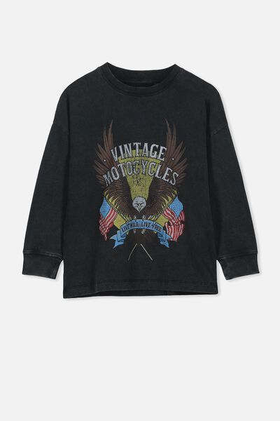 37d70c7e Skater Long Sleeve Tee, BLACK VINTAGE/MOTORCYCLES. Cotton On Kids