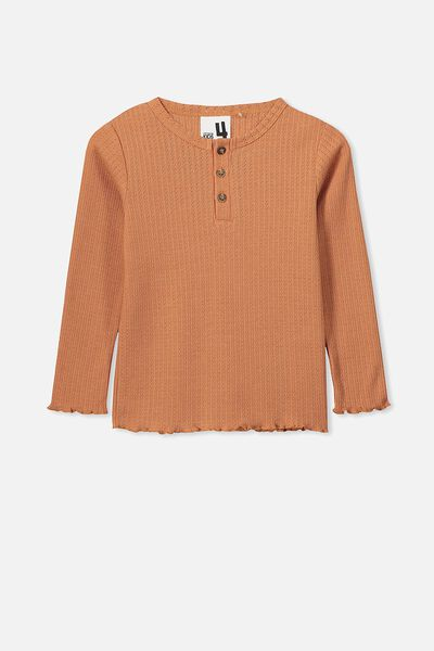 Priya Pointelle Top, TERRACOTTA RUST MARLE