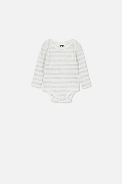 Newborn Long Sleeve Bubbysuit, KYLE STRIPE MILK/CLOUD MARLE