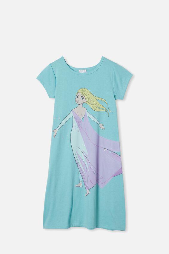 Carrie Longline Short Sleeve Nightie, LCN DIS BLUE ICE/ELSA