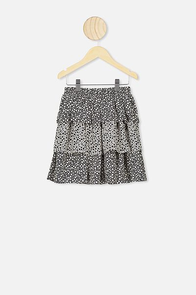 Eadie Tiered Ruffle Skirt, MONO FLORAL SPLICED