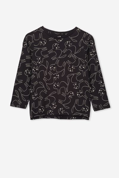 Penelope Long Sleeve Tee, PHANTOM/DRAWN CATS/SET IN