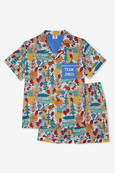 Carter  Short Sleeve Pyjama Set Personalised, KIWI XMAS/VANILLA