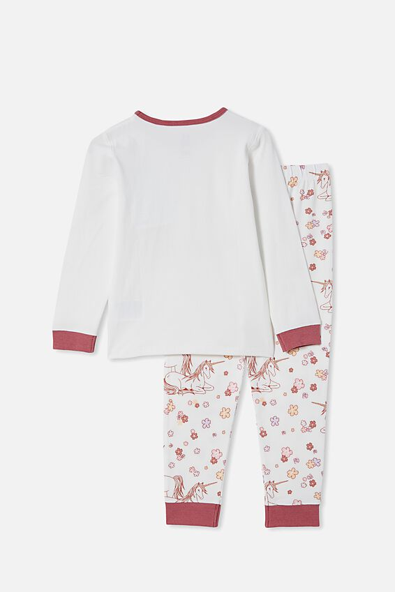 Florence Long Sleeve Pyjama Set, UNICORN FLORAL MEADOW/VANILLA