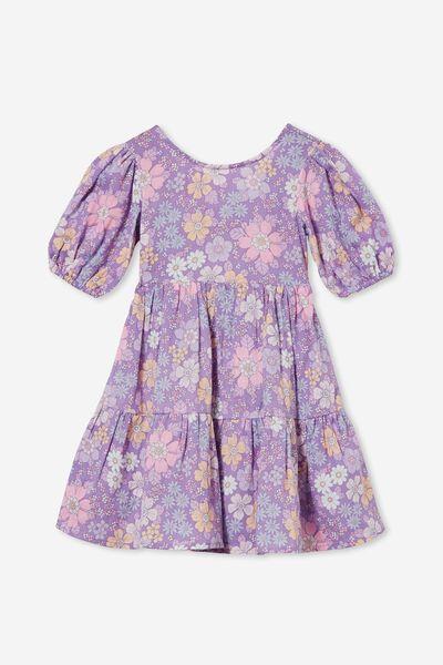 Georgia Short Sleeve Dress, GRAPE SODA/BRONTE FLORAL