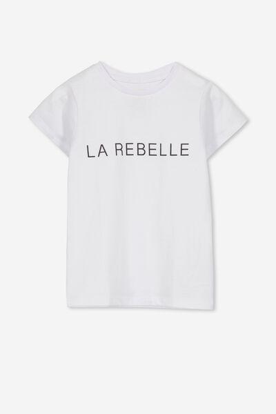 Penelope Short Sleeve Tee, WHITE/LA REBELLE/SET IN