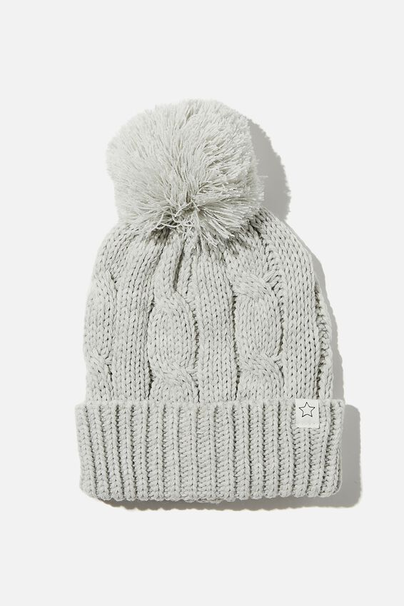 Winter Knit Beanie, LIGHT GREY CABLE