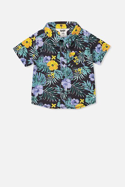 Mack Short Sleeve Shirt, BLACK/PALM PRINT