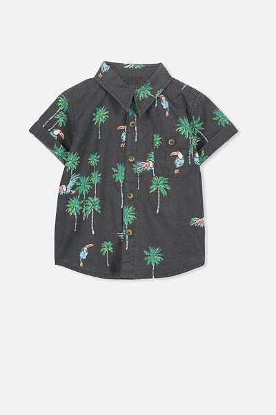 Zac Short Sleeve Shirt, PHANTOM/PARADISE TOUCAN