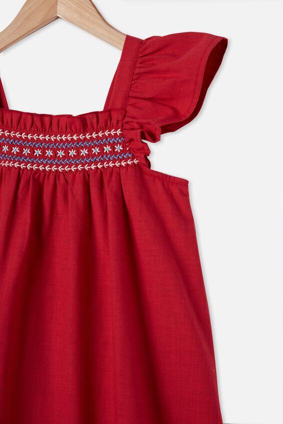 Allie Flutter Sleeve Dress, LUCKY RED