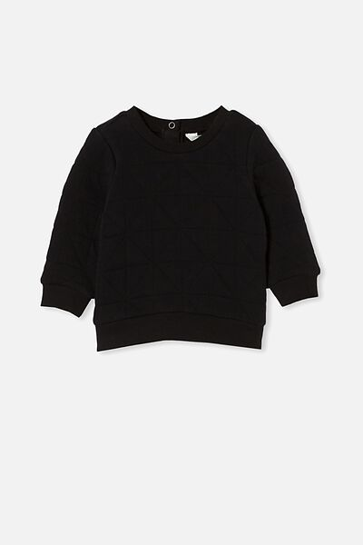 Greer Quilted Sweater, BLACK