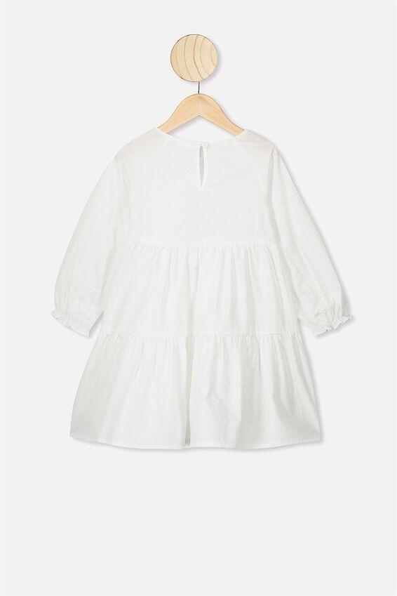 Carmen Long Sleeve Dress, WHITE