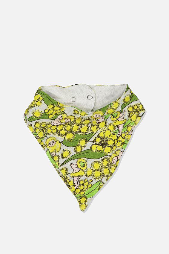 The Kerchief Bib, LCN MAY SOFT GREY MARLE/WATTLE BABIES
