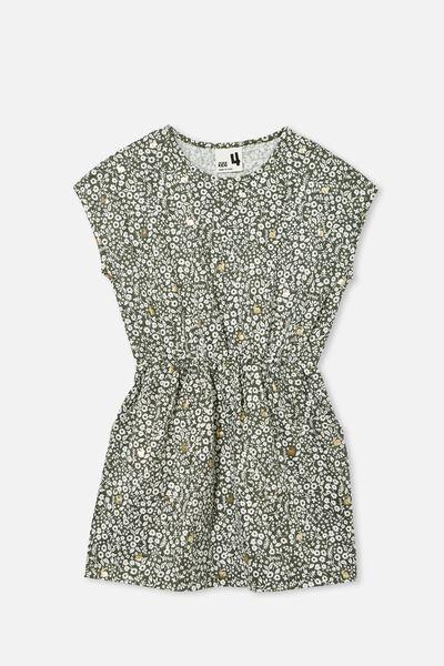 Sigrid Short Sleeve Dress, SWAG GREEN/GOLD BUNNY DITSY