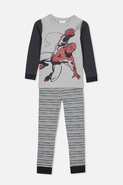 Harrison Long Sleeve Boys Pyjamas, LCN MAR SPIDERMAN GREY MARLE
