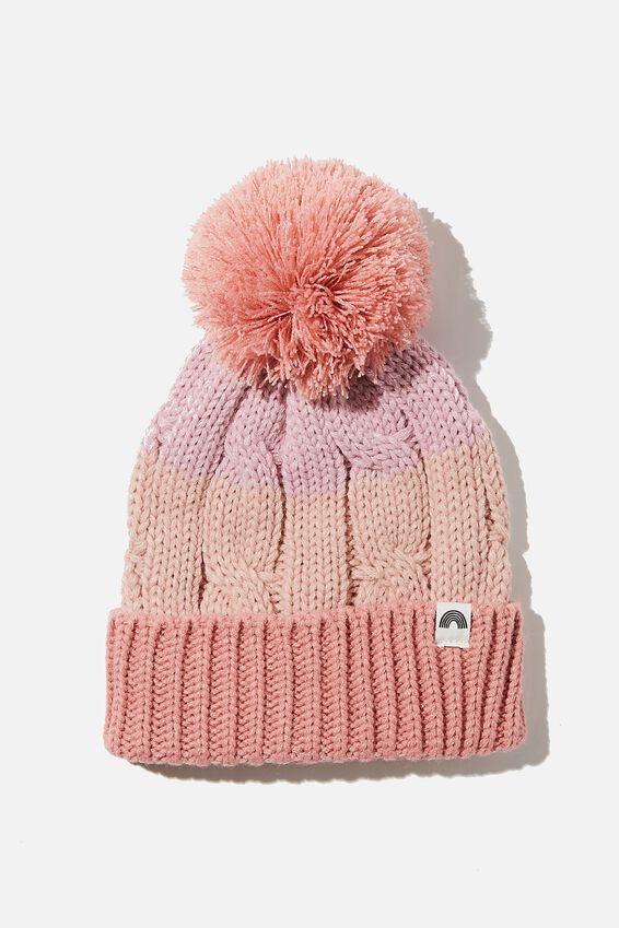 Winter Knit Beanie, EARTH CLAY SPLICE