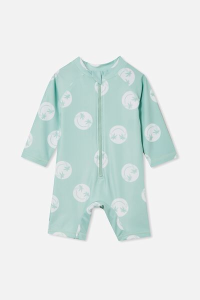 Cameron Long Sleeve Swimsuit, DUCK EGG/HAPPY PALM TREE FACE