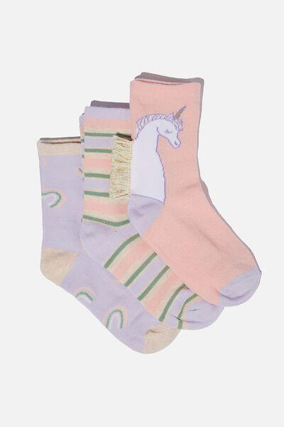 Kids 3Pk Crew Socks, PINK UNICORN/ RAINBOWS