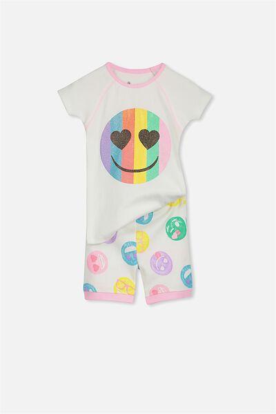 Lexi Girls Short Sleeve PJ Set, EMOJI GLITTER LOVE