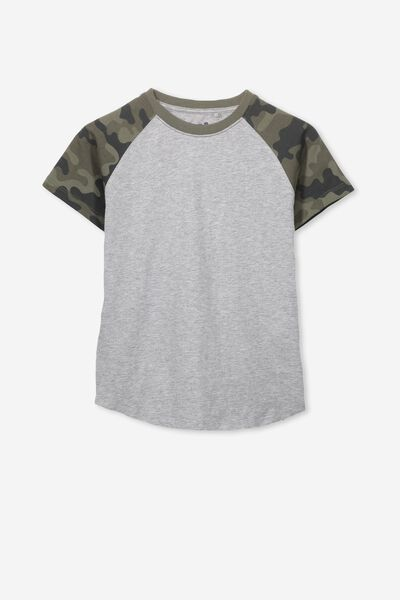 Max Short Sleeve Raglan Tee, LIGHT GREY MARLE/CAMO SLEEVES