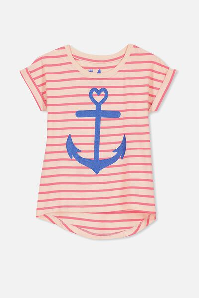 Penelope Short Sleeve Roll Up Tee, ROGUE RED SHELL PEACH STRIPE/ANCHOR