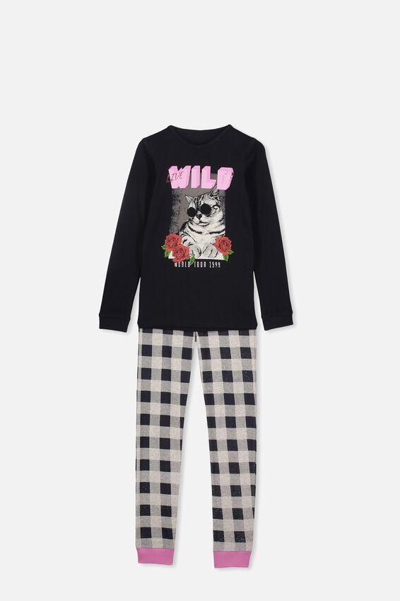 Alicia Long Sleeve Girls PJ Set, LIVE WILD CAT