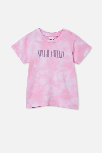 Jamie Short Sleeve Tee, CALI PINK TIE DYE/WILD CHILD